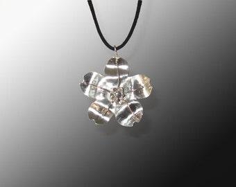 Sterling Silver Sakura Cherry Blossom Pendant  (MX-11006-001)