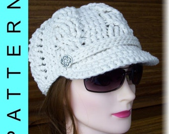 Instant Download: Crochet Pattern - Mary J Blige Bulky Cables Cap with Button Band