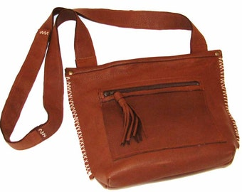 French Roast Chocolate Brown Deerskin Cross Body Tassel Tote Hand-Stitched