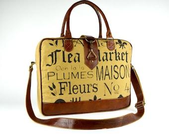 Leather Satchel ~ Canvas Satchel ~ Satchel gift ~ FLEA MARKET ~ Women Satchel ~ Women messenger~ Messenger bag ~ Mustard ~ Ready to Ship