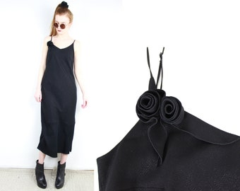 1990s French Vintage Long Dress Black Maxi Dress / 90's Cami Dress 3D roses & glitter Sleeveless Evening Cocktail Party Gown / Small