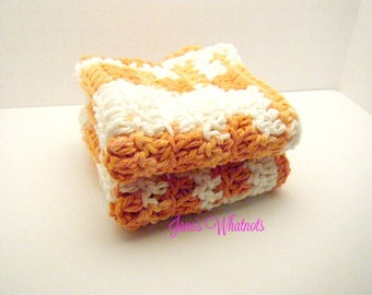 Dish Cloth - Crochet Cloth - Orange - White - Washcloth - Face Cloth - Cotton cloth - CRO 75