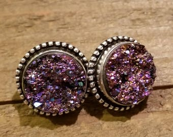 Midnight Druzy Crystal Stone Stud Earrings Style Fashion Nature Natural Earth Jewelry (E45)