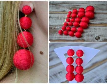 Red bon bon bonbon earrings Four balls clip earrings Rebecca de Ravenel Les bonbons Ball drop earrings Summer statement celebrity earrings