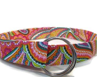 Women's Bright Multicolor Paisley Fabric Belt