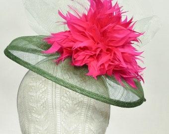 Pink, Mint, & Green, Sinamay Kentucky Derby Fascinator