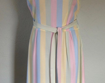 SALE! 1960's Mynette Polyester Knit Pastel Blue Yellow Pink Green Striped Sleeveless Dress with Belt Size 6-8