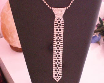 Shipping free form necklace tie silver rhinestone