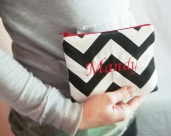 Embroidered Clutch Wallet - Personalized Chevron Makeup bag - Bridesmaid clutches - Small
