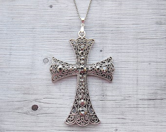 Vintage cross necklace Girlfriend gift for wife Gifts for sister necklace Antique Silver cross pendant Maltese cross necklace Long necklace