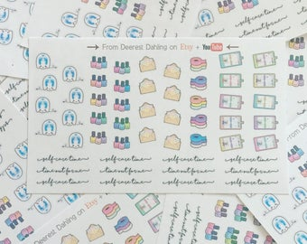 51 Self care time kawaii planner stickers for Functional White Space Planning - Personal Planner