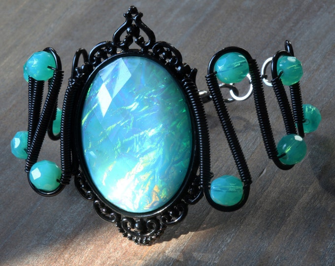 Neo victorian Goth Jewelry - Bracelet - Aqua Opalescent Cabochon and Uranium glass beads - Black Gun metal