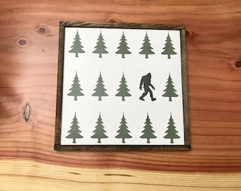 Christmas sign, bigfoot, sasquatch, mythical creature, Christmas tree sign, farmhouse sign, nursery decor,