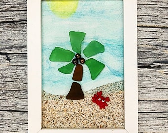 Life Is A Beach Sea Glass Art - Crabby Beach Glass Home Decor - Home Sweet Home
