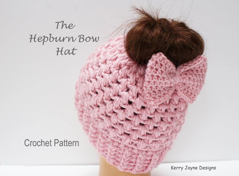 Messy bun hat pattern hepburn bow hat crochet pattern bow hat zoom bankloansurffo Gallery