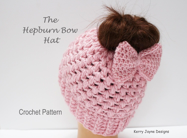 Messy bun hat pattern hepburn bow hat crochet pattern bow hat zoom dt1010fo
