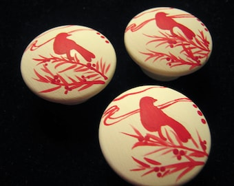 CREAM Knobs with RED BIRD Silhouettes -  Hand Painted Wooden Knobs - Set of 8 - Great for Girl's Room, Nursery, Office