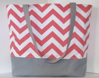 Chevron Beach Bag  . Coral White Gray . Standard size . Chevron tote bag . great bridesmaid gifts . teacher tote bag  Monogramming Available