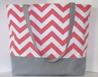 Chevron Beach Bag  . Coral White Gray . Standard size . Chevron tote bag . great bridesmaid gifts . teacher tote bag  Monogramming Available