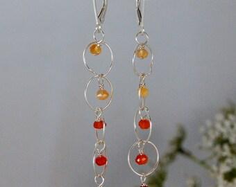 Orange Carnelian Earrings Modern light sterling silver chain