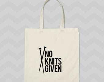 tote bag, knit tote bag, funny tote, knitting project bag, gift for knitters, gift for her, project bag, mothers day gift, sarcastic tote