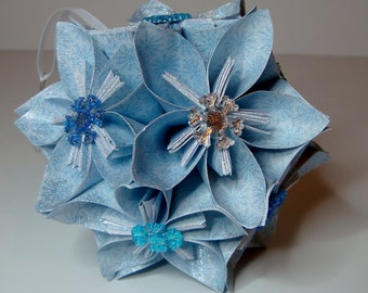 Small Kusudama Flower Ball Ornament (Snowflakes V5)