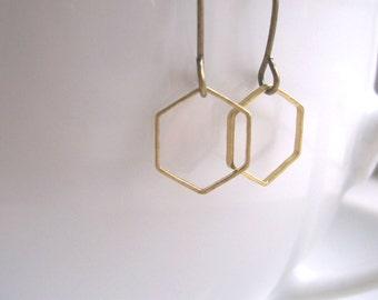 Delicate Honeycomb hexagon earrings - mixed metals golden brass geometric shapes - minimalist jewellery