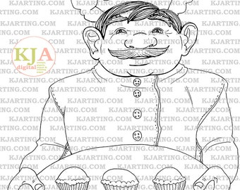 The Muffin Man Coloring Page (Line_Art Printable_00191 KJArting)