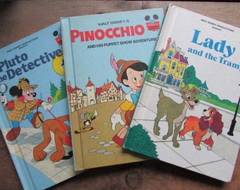 Disney's Wonderful World of Reading Pluto the Detective Lady and the Tramp Pinocchio Book Bundle
