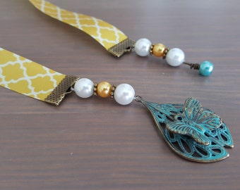 Bookmark - Butterfly Yellow with Teal Bronze Filigree Beaded Ribbon Bookmark