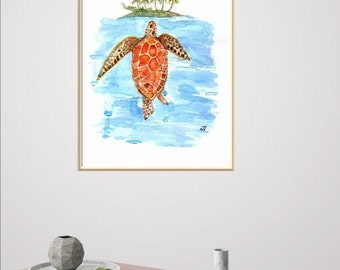 Watercolor Sea Turtle, Home Decor Wall Prints, Turtle Under the Island Artwork, Art Wall Beach Art Turtle Painting,Easter Gifts Giclee Print