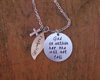God is within her she will not fall, Bible Verse Hand Stamped Necklace, , Psalm 46:5, Christian, Cross Necklace