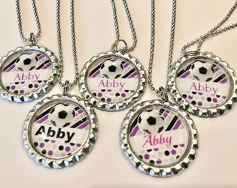 Bottle cap necklace with soccer ball image and can be customized