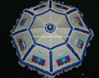 "34"" Choo Choo Express Baby Shower Umbrella"