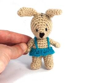 PLUSH BUNNY, crochet bunny, small amigurumi rabbit, Easter tiny bunny, miniature animal doll, stuffed bunny toy, mini toy for Easter rabbit