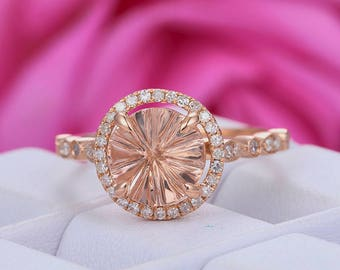 8mm Round Cut Morganite Engagement Ring/14k Rose gold diamond band/Halo Stackable band/Art deco Marquise Band/Milgrain/Half Eternity/Pave