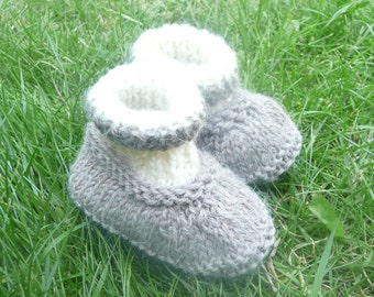 Knitting PATTERN BABY Booties  All in One Baby Shoes - INSTANT Download