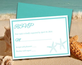 "Beach Wedding RSVP Template -  Response Card ""Lazy Starfish"" RSVP Light Turquoise Printable Wedding Invitation RSVP Card Download"
