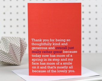 Overall Just Really Rather Great - Thank You Card