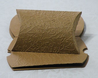 """20 Pillow Gift Card Boxes, Kraft Pillow Box, Embossed Pillow Box, Pillow Gift Box, Craft Gift Box, Pillow Boxes, 3-5/8"""" x 2-7/8"""""""