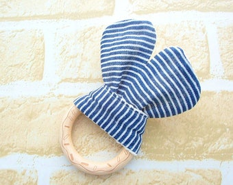 Wooden Teething Ring, Engraving Cookie Teether, Natural Unfinished Wood, Sensory Toy, Navy Hickory Stripes, Japanese Cotton, Baby Toy
