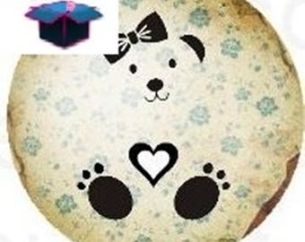 1 glass cabochon 16 mm for loop or ring girl and teddy bear