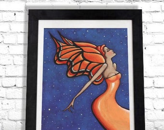 Fairy Print, Butterfly Wall Art, Angel Wings, Woman Art Print, Gift For Her, Home Decor, Giclee Print, Art Deco Poster, Large Artwork Shano