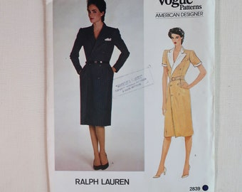 Vintage Vogue 2839 Sewing Pattern, Ralph Lauren Dress, Size 16 Bust 38, Double Breasted Dress Pattern