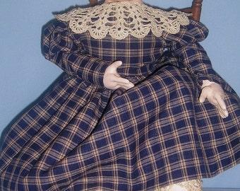 Nettie Jo, an original design folk art cloth doll in the style of Izannah Walker