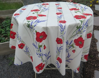"""Round Tablecloth. Water proof and stain resistant40"""",50"""" and 59"""" diam Easy care. Summer and outdoor tablecloth.Lavender and poppies in white"""