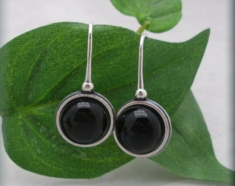 Black Onyx Earrings, Sterling Silver, Gemstone Jewelry, Dangle Gem Stone Earrings, Black Earrings