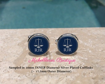 Scales of Justice Personalized Mens Cufflinks,Scales of Justice Cufflinks,Monogram Mens Cufflinks,Lawyer,Attorney,Navy, MB307
