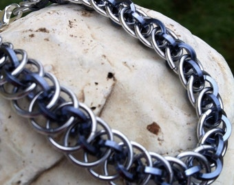 Chainmaille Bracelet In Black Ice Anodized  Aluminum Great for Men Women Love  It Too