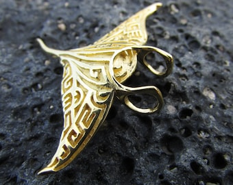 18K Gold Vermeil Manta Ray Large Pendant Necklace | Ocean | Beach | Gift | Jewelry | Handmade | Unique